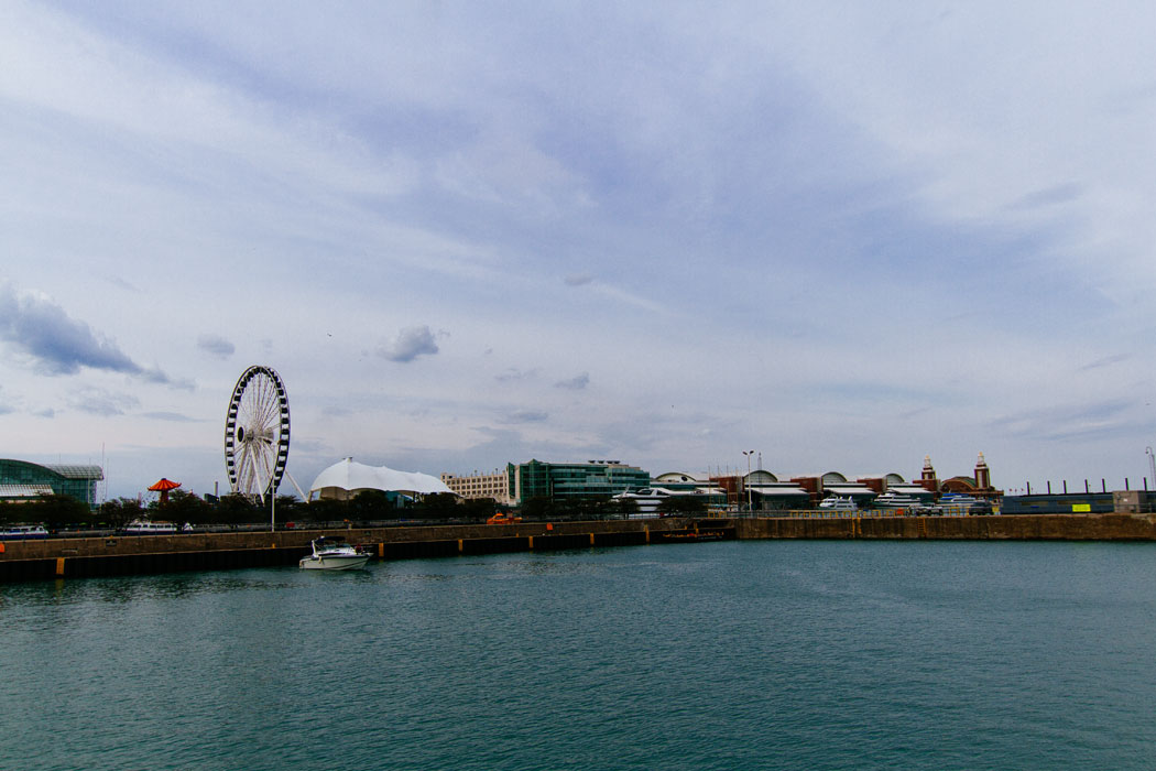 A view of Navy Pier from the Chicago River