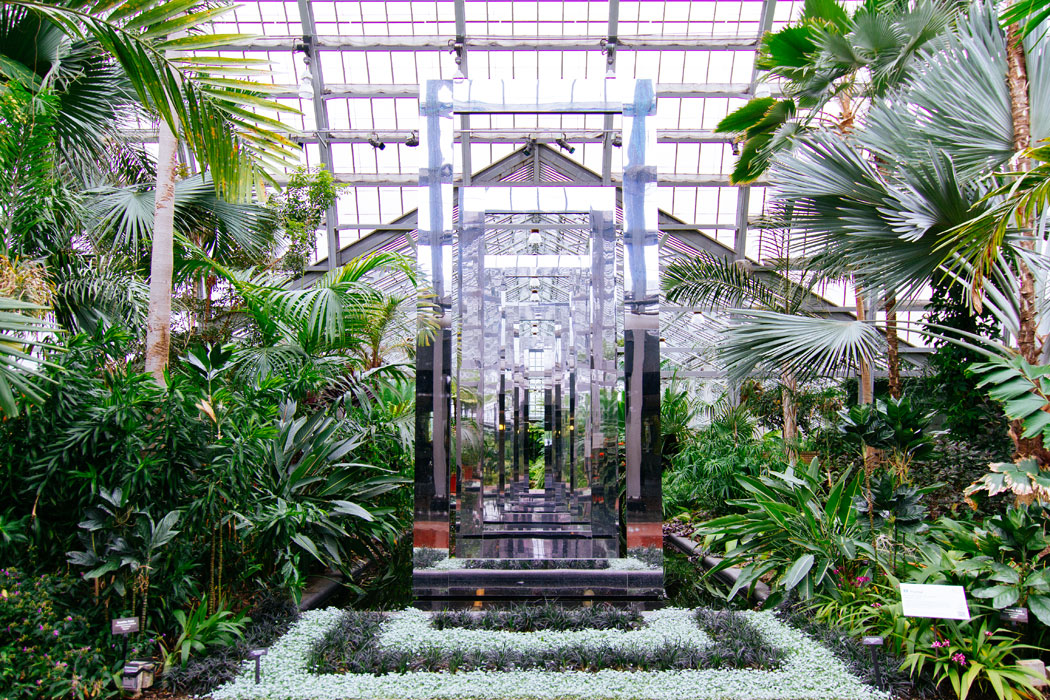 A rectangular glass art installation in the Fern Room at the Garfield Conservatory