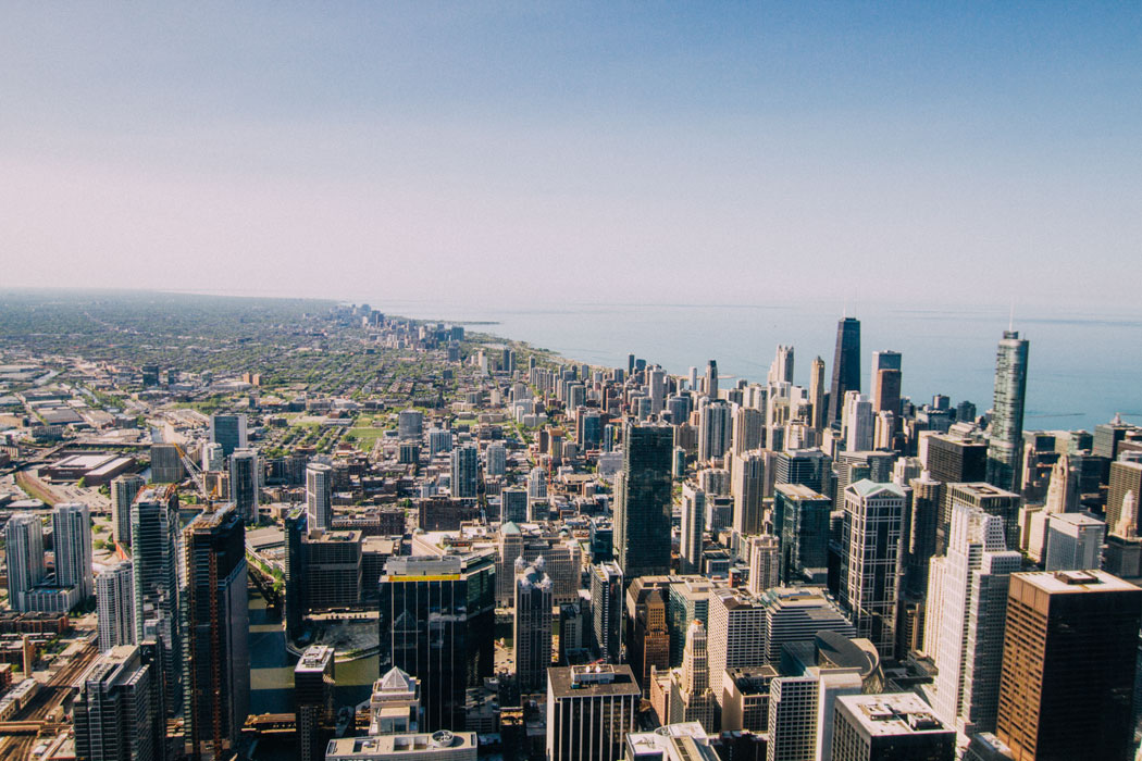 A view of one side of the city from the top floor of the Willis Tower