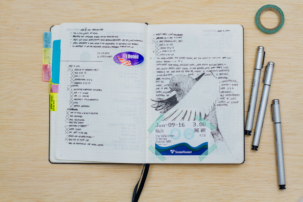 Notes and some strange drawing in this sketchbook spread