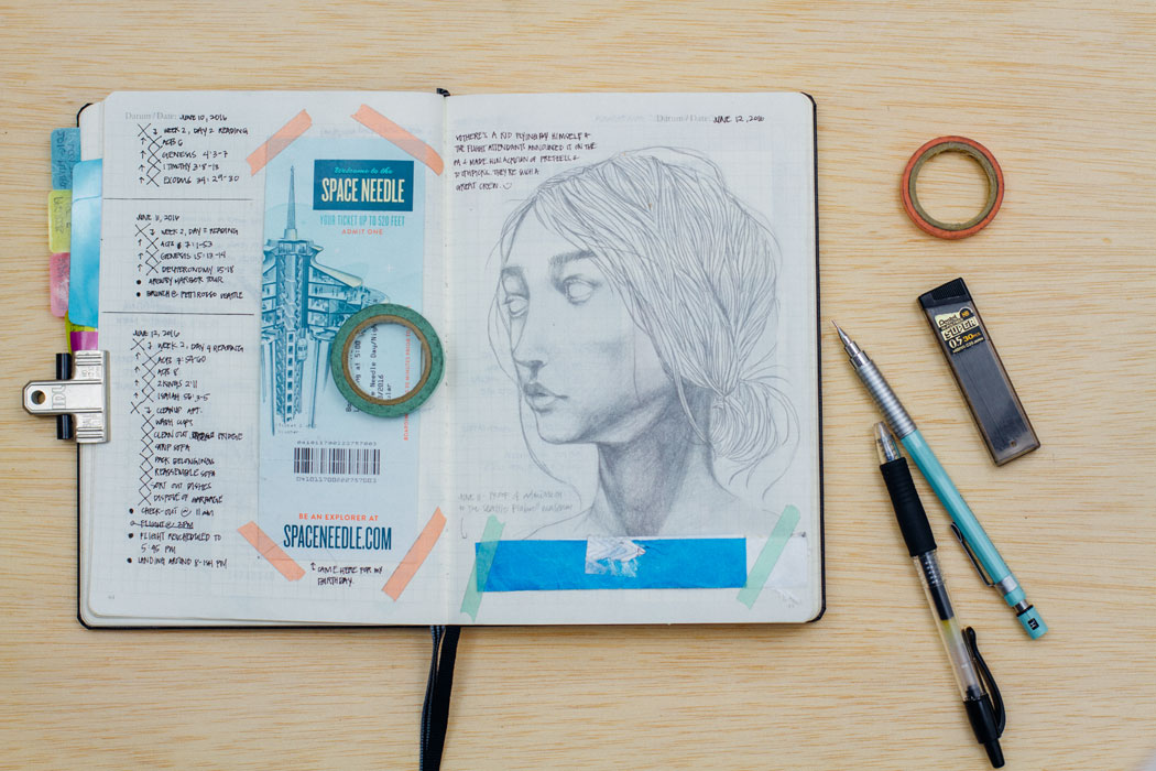 Note-taking, paraphernalia, and sketching from the sketchbook